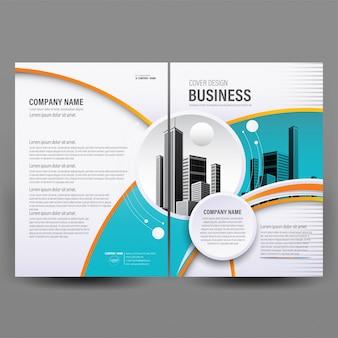 Modello di copertina brochure aziendale geometrico blu e arancione.