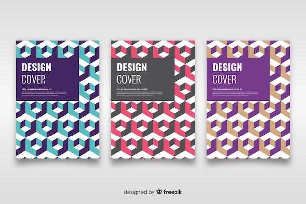 Modello di copertina con set di disegno geometrico