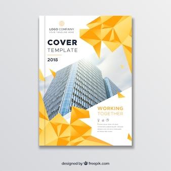 Modello di copertina con stile poligonale e edifici