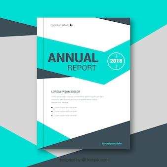 Modello di copertina del rapporto annuale verde con forme geometriche