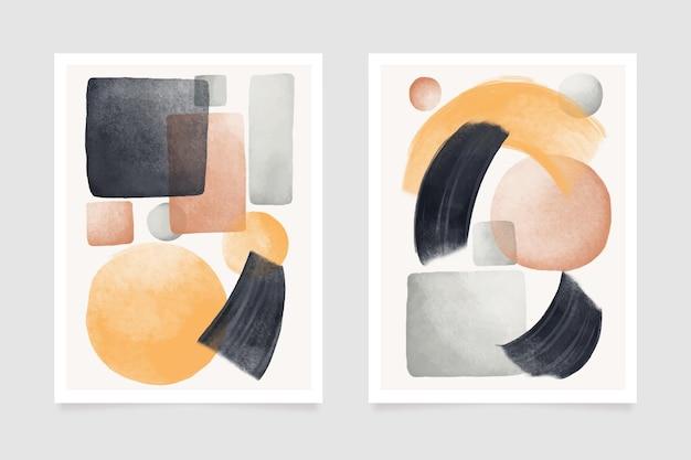 Modello di copertina dell'acquerello astratto di forme geometriche
