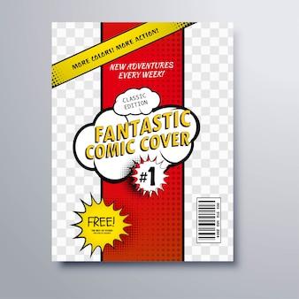 Modello di copertina della rivista del libro di fumetti pop art