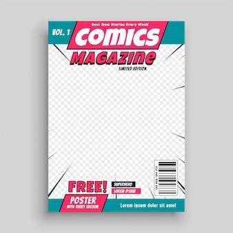 Modello di copertina della rivista di fumetti