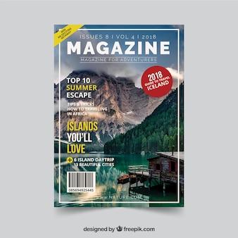 Modello di copertina della rivista natura con foto