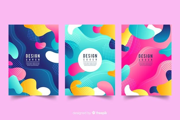 Modello di copertina di design con effetto liquido colorato
