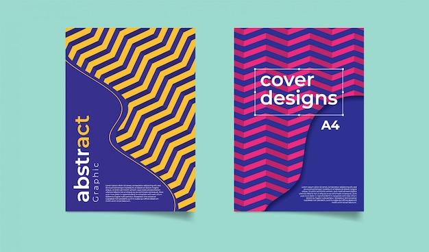 Modello di copertina di sfondo geometrico a zig zag.