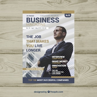 Modello di copertina di una rivista di affari con foto