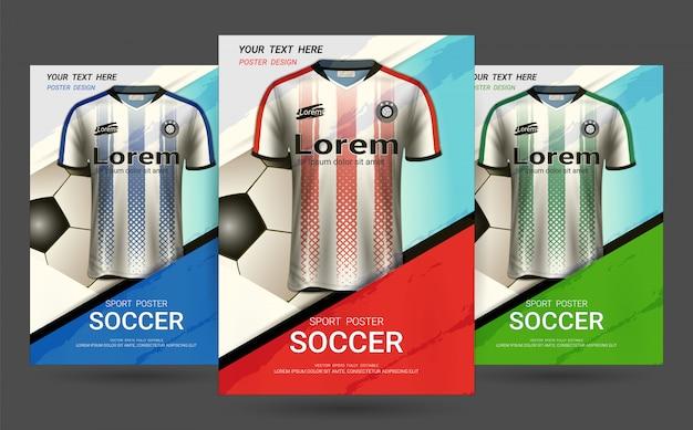 Modello di copertina di volantino e poster con design di soccer jersey.