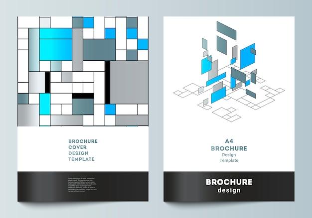 Modello di copertina moderna. mosaico colorato poligonale astratto, design retrò bauhaus.