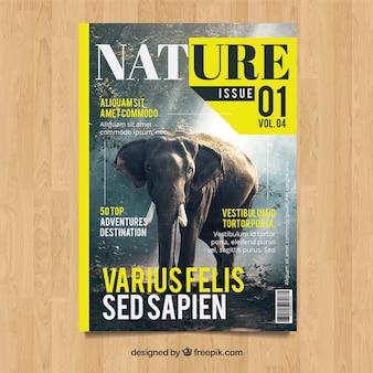 Modello di copertina rivista moderna natura con foto