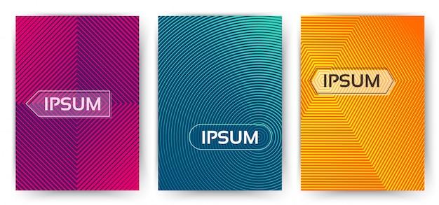 Modello di copertina semplice e alla moda. insieme di gradienti mezzetinte minimi