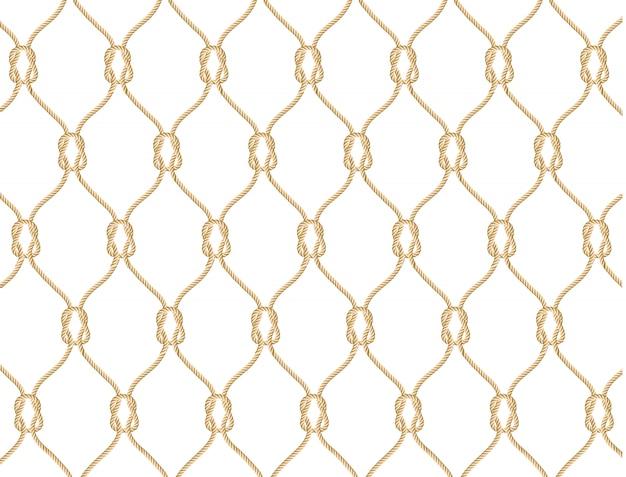 Modello di corda nautica senza soluzione di continuità. illustrazione infinita della marina con l'ornamento beige della rete da pesca e nodi marini sul contesto bianco