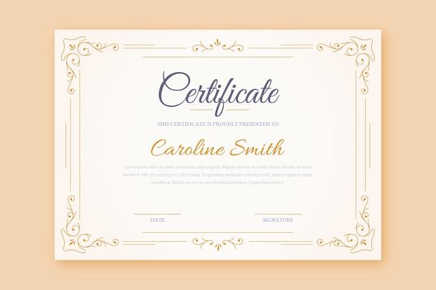 Modello di cornice certificato elegante