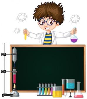 Modello di cornice con bambino nel laboratorio di scienze