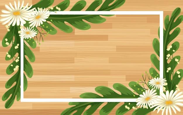 Modello di cornice con fiori bianchi su tavola di legno