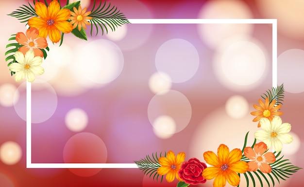 Modello di cornice con fiori e luce intensa