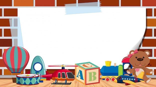 Modello di cornice con molti giocattoli carino sfondo
