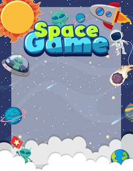 Modello di cornice con molti pianeti sullo sfondo dello spazio