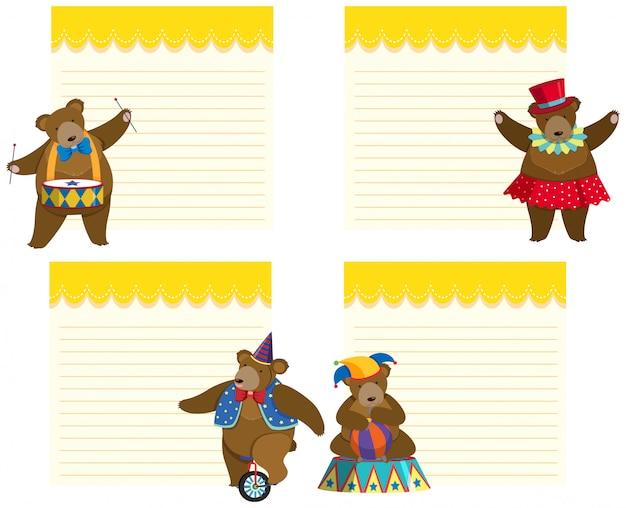 Modello di cornice con orso da circo