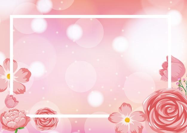 Modello di cornice con rose rosa