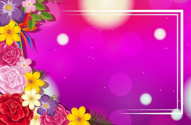 Modello di cornice con sfondo di fiori colorati