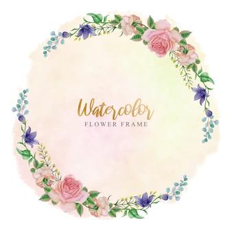 Modello di cornice corona di fiori dell'acquerello cerchio
