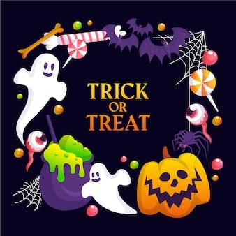 Modello di cornice di halloween con fantasmi e caramelle
