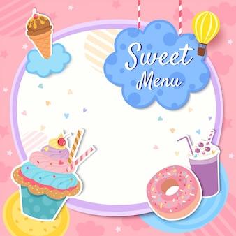 Modello di cornice di menu dolce con dessert cupcake e frappè su sfondo rosa.
