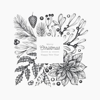 Modello di cornice di natale. illustrazioni disegnate a mano delle piante di inverno di vettore. cartolina d'auguri design in stile retrò.