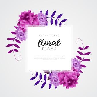 Modello di cornice floreale dell'acquerello
