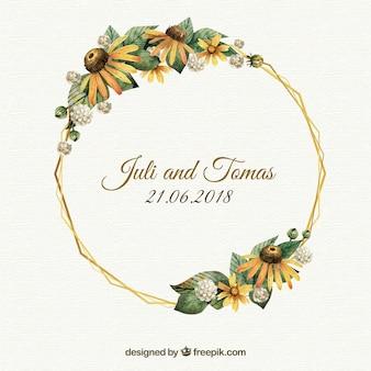 Modello di cornice floreale di nozze