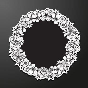 Modello di cornice floreale monocromatica