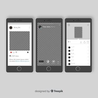 Modello di cornice foto instagram su iphone