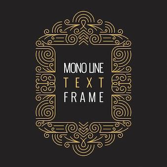 Modello di cornice geometrica di vettore linea mono stile per testo.