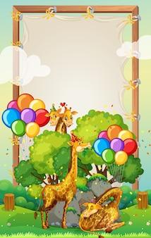 Modello di cornice in legno di tela con giraffe in tema di festa sullo sfondo della foresta
