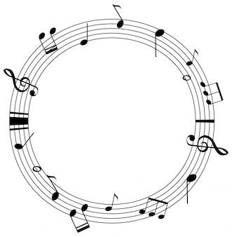 Modello di cornice rotonda con note musicali su scale