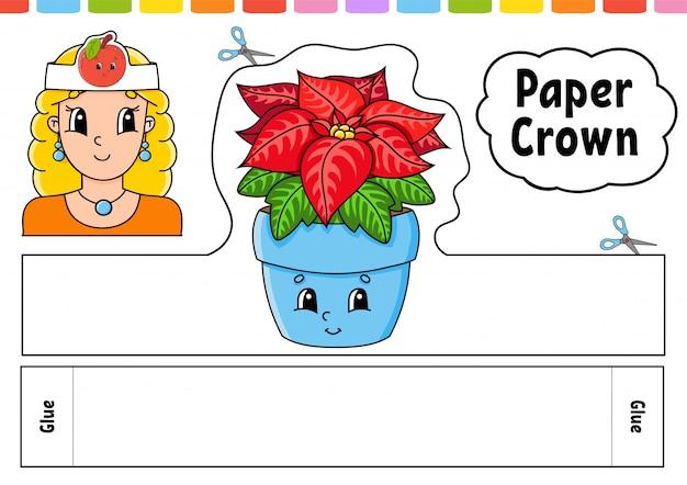 Modello di corona di carta per bambini. per giochi, feste, compleanni, vacanze. con un simpatico personaggio dei cartoni animati.