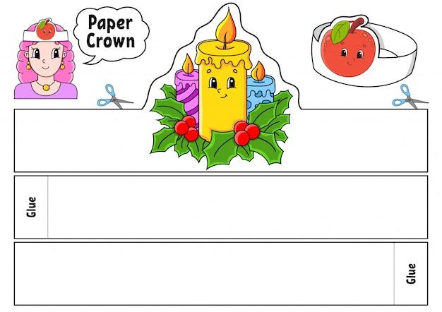 Modello di corona di carta per bambini. per giochi, feste, compleanni, vacanze.