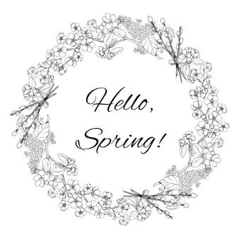 Modello di corona floreale di primavera disegnata a mano