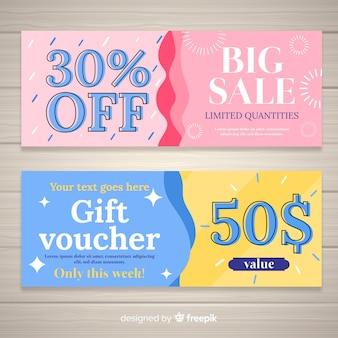 Modello di coupon colorato con design piatto