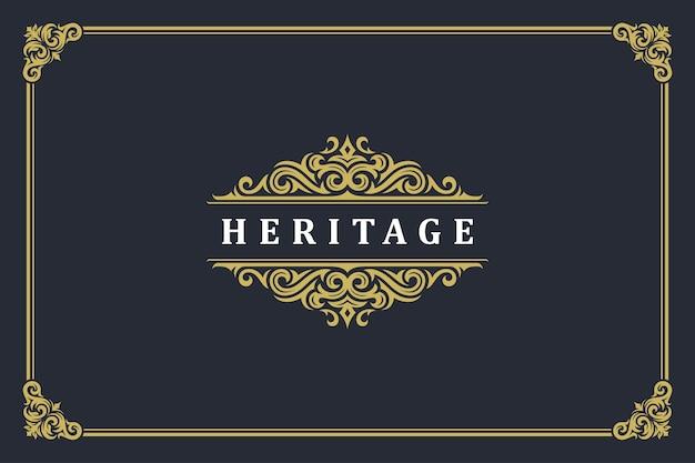 Modello di cresta monogramma logo ornamento vintage di lusso