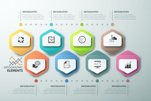 Modello di cronologia poligono infografica moderna