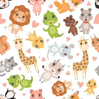 Modello di cuccioli di animali. fondo del fumetto del leone della giraffa del coccodrillo degli animali selvatici di safari senza cuciture stampato tessuto