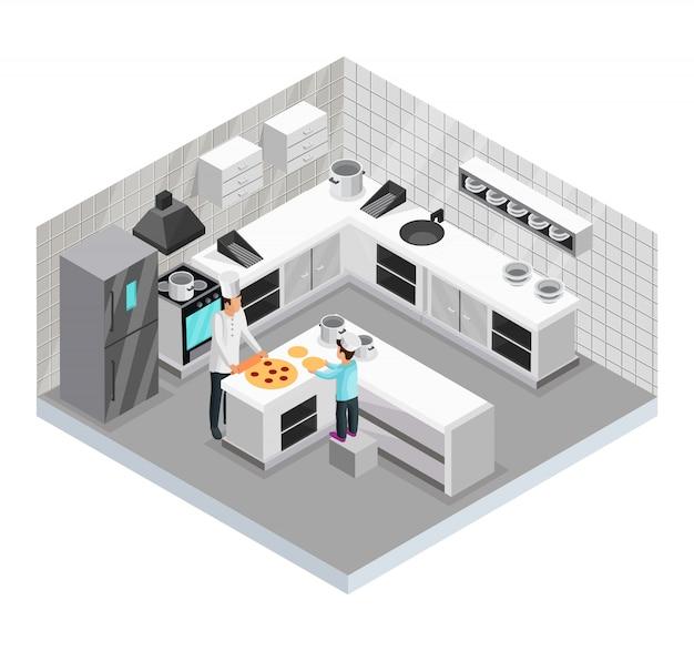 Modello di cucina casalinga isometrica del padre che prepara la pizza con suo figlio in cucina isolata