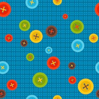 Modello di cucito con bottoni colorati su sfondo blu