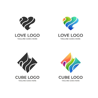 Modello di cuore, logotipo di nastro di san valentino,