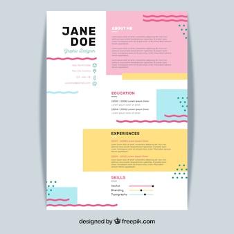 Modello di curriculum colorato con design piatto