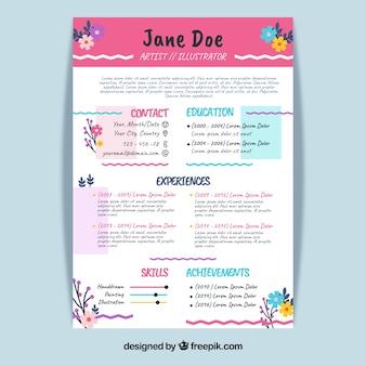 Modello di curriculum colorato con fiori