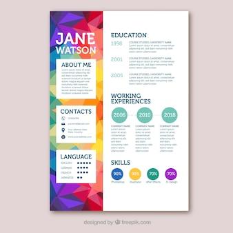 Modello di curriculum colorato con stile geometrico