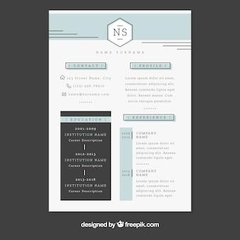 Modello di curriculum con design piatto